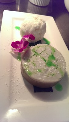 Rice Cake Pudding with coconut ice cream.
