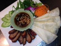 Peking duck spring rolls